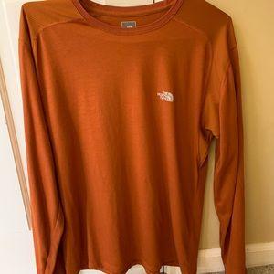 Men's orange north face tee shirt long sleeve